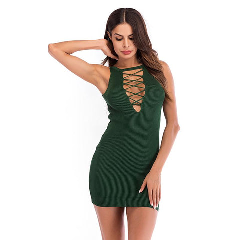 Hollow Out Sexy Solid Knitted Mini Dress