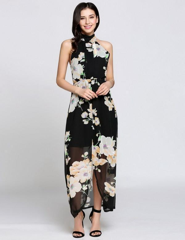 Floral Casual Collar Split Sleeveless Halter Dress Boho Style