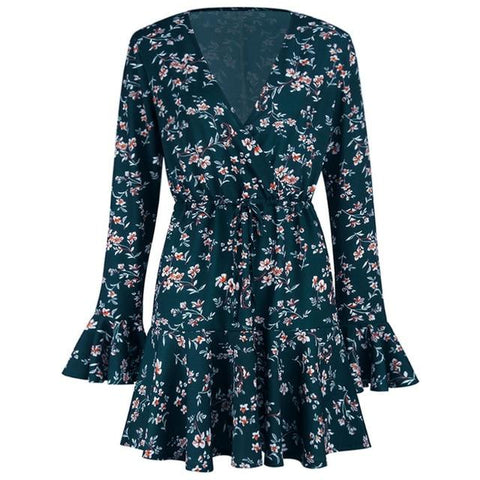 Sexy Deep V-Neck Floral Prinedt Ruffle Vintage Soft Long Sleeve  Mini Dress