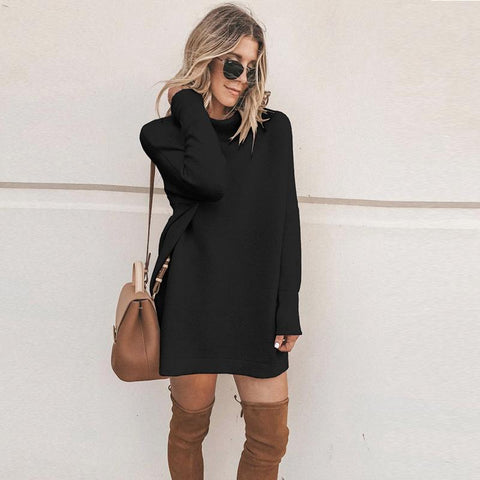 Long Sleeve Turtleneck Sweatshirt Dress