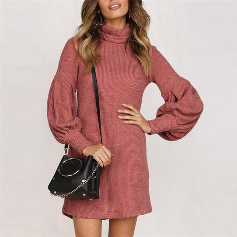 Turtleneck Long Sleeve Solid Jumper Casual Dress