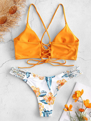 Braided Flower Spaghetti Straps Wire Free Lace Up Bikini