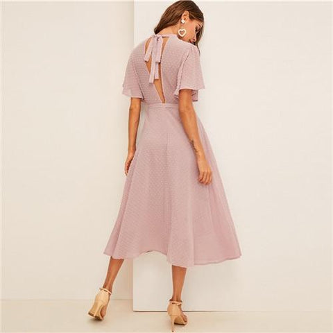 Flutter Sleeve Swiss Dot Belted Pink Pastel Solid Dress