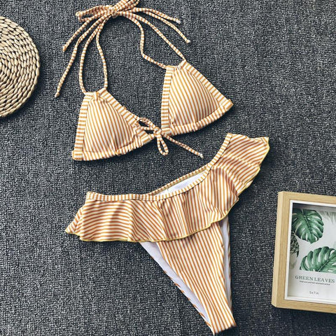 High Waist Push Up Two Pieces Swimsuit