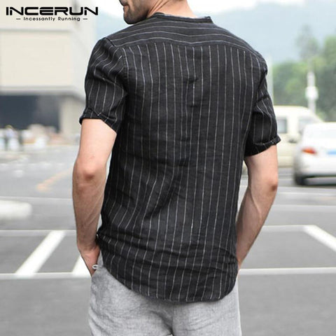 Casual men Shirt Stripe Short Sleeve Button Slim Cotton Shirt Stand Collar Pullover Fashion Social Tops