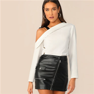 Asymmetrical Neck Foldover Front Top With Tie Shoulder Women Chic White Solid Spring Elegant Autumn Tops and Blouses