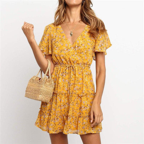 New Fashion Floral V Neck Mini Dress