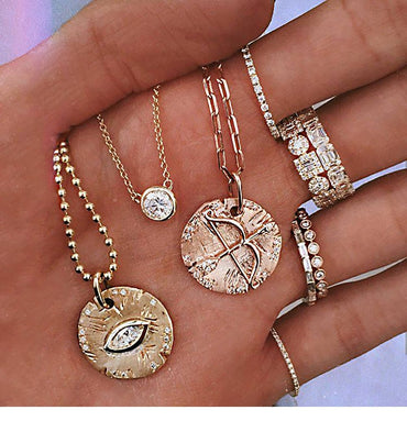 Boho Multi-layer Gold Chain Evil Eye&Arrow Pendant Necklace Fashion Charms