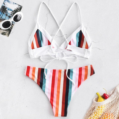 Colorful Striped Cami Criss Cross Bikini Set