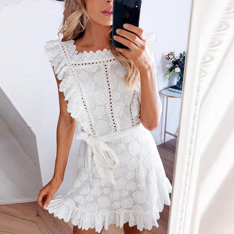 Sexy Hollow Out Sashes Mini Dress