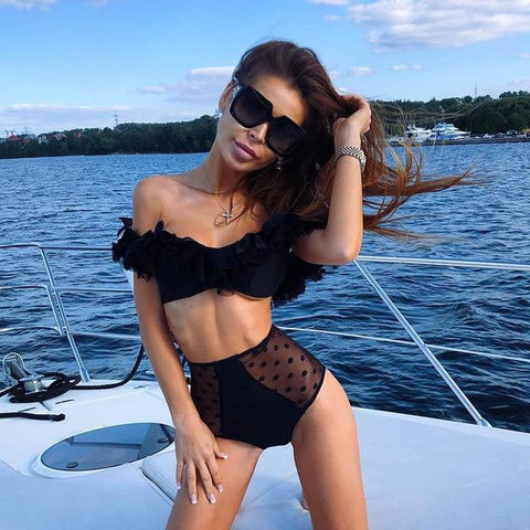 Sexy off shoulder ruffles bikini swimwear high waist Bikini Set