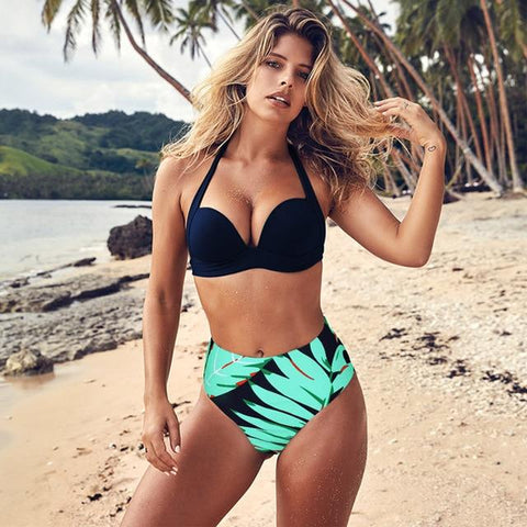 Sexy High Waist Bikini Set Swimwear Women Swimsuit Push Up  Bikini Halter Top