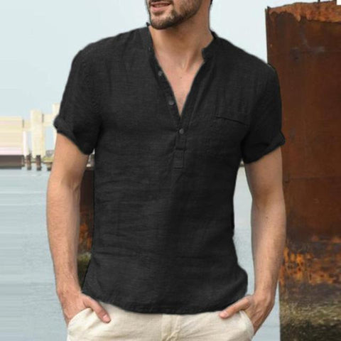 Short Sleeve Linen Shirt Blouse Men Summer Retro Baggy Fashion Shirts Blouse Fashion Solid V-neck shirt