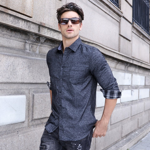 Pocket Long Sleeve Lattice Neck Casual Solid Color Mens Dress Shirts