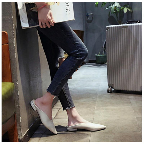 Fashion Mules PU Leather Pointed Toe Slip On Flip Flops  Flat Shoes