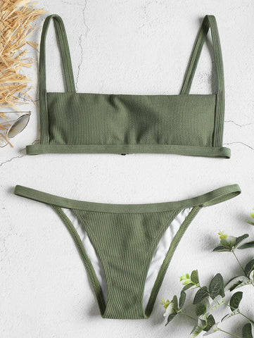 Hook Ribbed Wire Free Low Waisted String Bikini Set