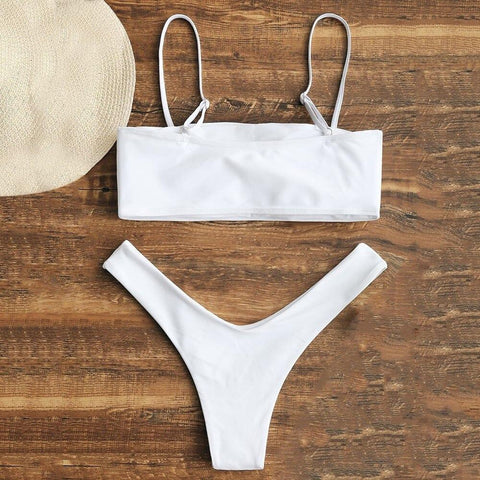 Cami High Cut Elastic Wire Free Bikini Set