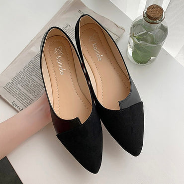 Leather Shoes Splice Color Shoe Ballerina Slip On flats shoes