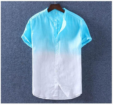 Gradient Men Short Sleeves Shirt Summer Cotton Linen Slim Stand Collar Comfortable Fashion Shirts