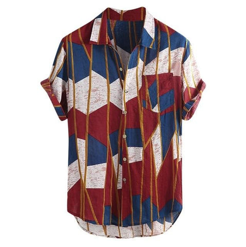 New Arrivals Fashion Summer men Casual Multi Color Lump Chest Pocket Short Sleeve Round Hem Loose Fashion Shirts