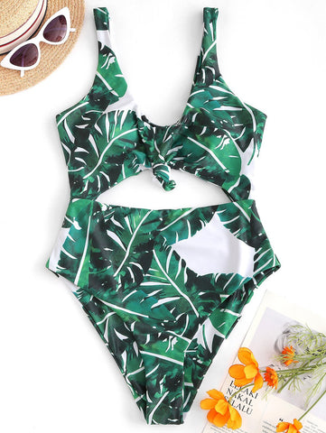 Knot Cutout Tropical One-Piece V Neck Swimwear