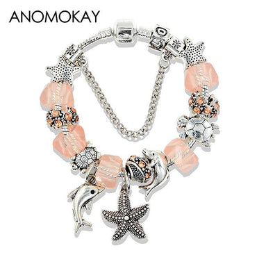 Dropshipping Silver Ocean Starfish Dolphin Bead Bracelet