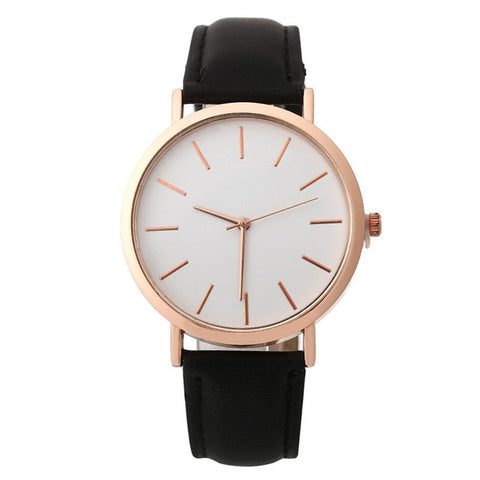 Women Watches Fashion Rose Gold Minimalism Simple Leather Band Quartz Analog Wrist Watch