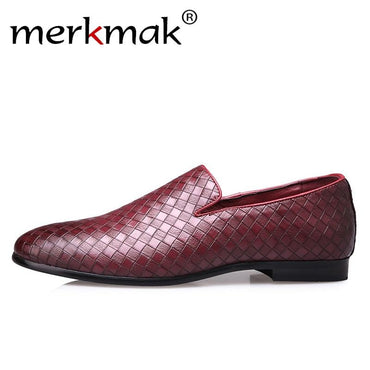 Weave Men Loafers Leather Shoes Casual Slip On Soft Male Dress Shoes