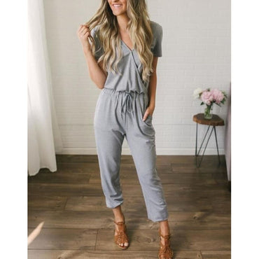 Sexy short sleeve long black trousers beach jumpsuit