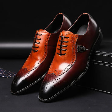 Luxury classic mens brogue oxfords dress shoes genuine cow leather brown pointed toe lace up shoes