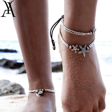 Vintage Starfish Adjustable Beads Anklet Bracelet