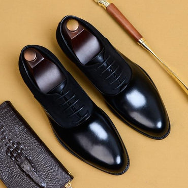 Fashion Man Formal Shoes High Quality Genuine Leather Personality Men Business Dress Oxford Wedding Shoes