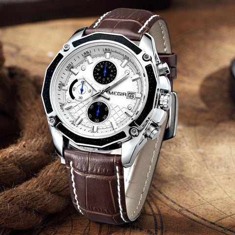 Fashion Genuine Leather Chronograph Watch