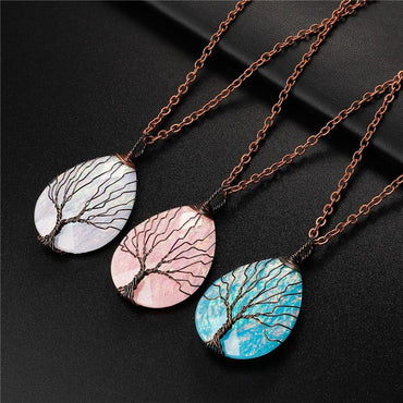 Colorful Resin Tree of Life Dainty Pendant Necklace