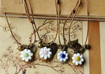 Hollow Leaf Pendants Ceramic Beads Bronze Bell Statement Charm Choker Necklace