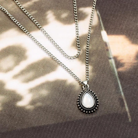 Tiny Water Drop Necklace Pendant Vintage  Silver Layered Chains