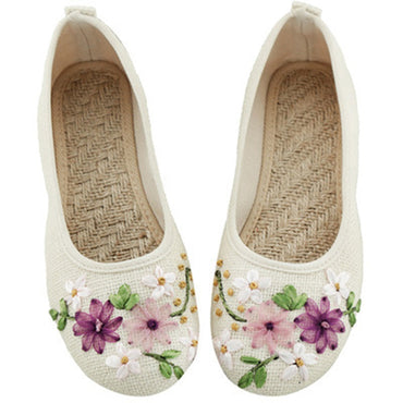 Casual Ballet Flats Embroidery Vintage Round Toe Cotton Fabric Slip On  Flat Shoes