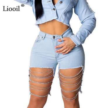 Black Blue Hole Shorts  Cotton Sexy Rave Jean Short Pocket Zipper High Waist Denim Shorts