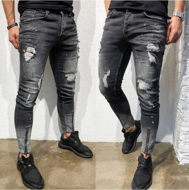 Calca Jeans Fashion Hole Youth Dressing Denim Men Zipper Stretch Feet Jeans