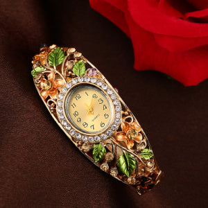 Fashion Multicolor Flower  Watch Women's Watches Luxury Rhinestone Watch