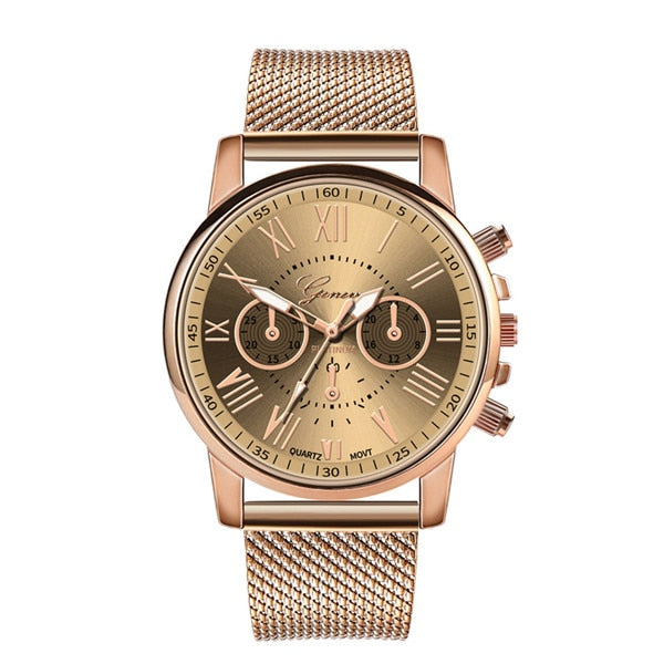 Fashion Stainless Steel Band Rose Gold Women Casual Wristwatch