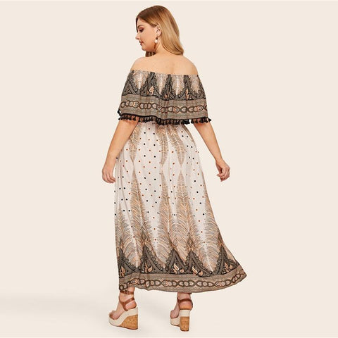 Plus Size Off Shoulder Ruffle Tassel Detail Paisley And Dot Boho Maxi Dress