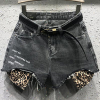 wide leg  hole loose fashion leopard jeans Denim Shorts