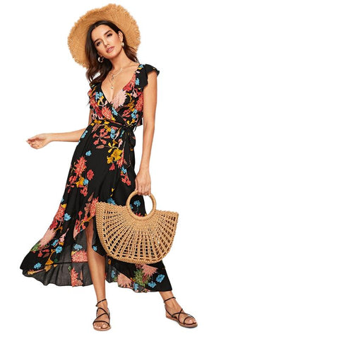 Flounce Backless Belted Wrap Floral Print Boho Maxi Dress