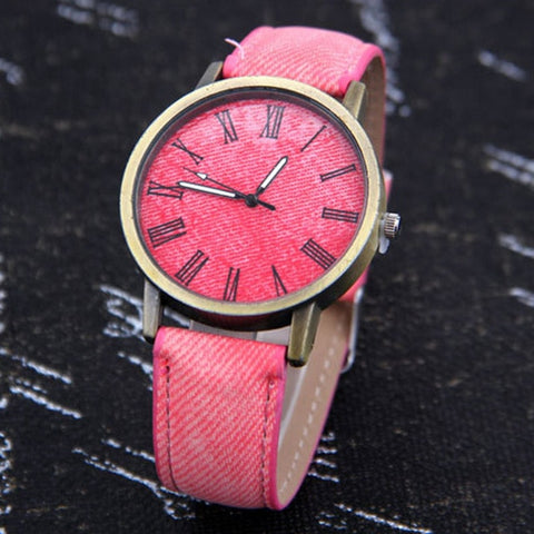 Quartz Watch Denim Design Leather Strap Casual Wristwatch
