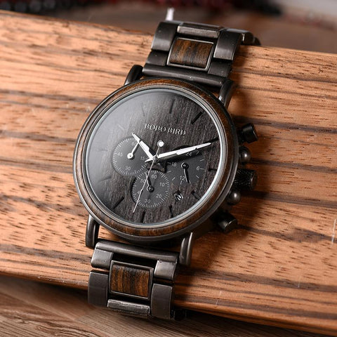 Luxury Wood Stainless Steel  Stylish Wooden Timepieces Chronograph Quartz Watches