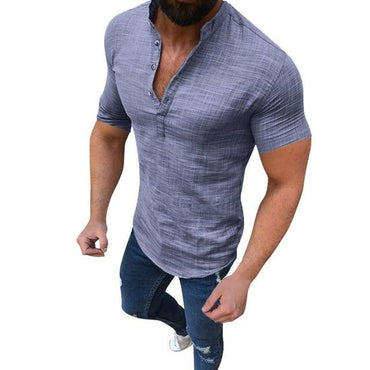 Men's Casual Blouse Cotton Linen shirt Loose Tops Short Sleeve Tee Shirt