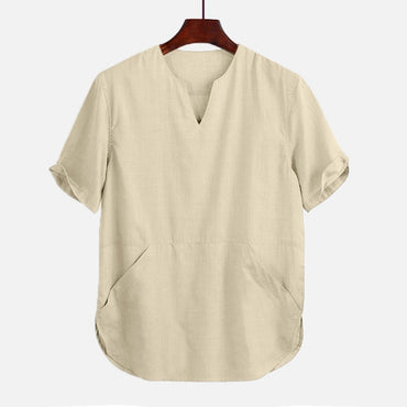 Baggy Cotton Linen Solid Color Pocket Short Sleeve Shirts
