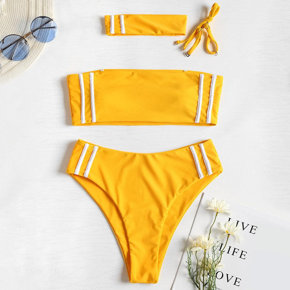 Swimsuit High Leg Bandeau Bikini  Choker Swimwear Striped High Waisted Padded Bikini