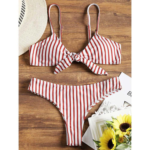 Striped Bikini Front Knotted Swimwear Padded Swimsuit